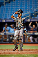 Michael Berglund (3) during the Tampa Bay Rays Instructional League Intrasquad World Series game on October 3, 2018 at the Tropicana Field in St. Petersburg, Florida.  (Mike Janes/Four Seam Images)