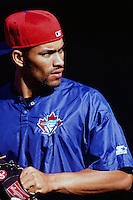 Jose Cruz jr. of the Toronto Blue Jays during a game against the Anaheim Angels at Angel Stadium circa 1999 in Anaheim, California. (Larry Goren/Four Seam Images)