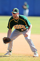 North Dakota State Bisons Zach Heidmann #32 during a game vs Bradley Braves at Chain of Lakes Park in Winter Haven, Florida;  March 17, 2011.  Bradley defeated North Dakota State 6-5.  Photo By Mike Janes/Four Seam Images