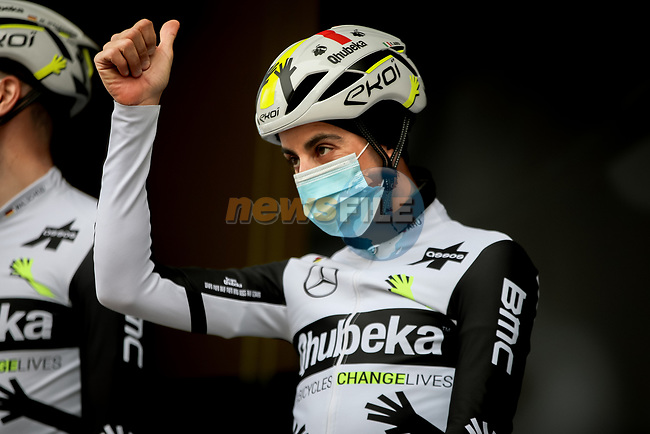 Fabio Aru (ITA) Team Qhubeka Assos at sign on before Stage 5 of Paris-Nice 2021, running 200km from Vienne to Bollene, France. 11th March 2021.<br /> Picture: ASO/Fabien Boukla | Cyclefile<br /> <br /> All photos usage must carry mandatory copyright credit (© Cyclefile | ASO/Fabien Boukla)