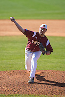 Winthrop Eagles relief pitcher Joey Strain (18) delivers a pitch to the plate against the Kennesaw State Owls at the Winthrop Ballpark on March 15, 2015 in Rock Hill, South Carolina.  The Eagles defeated the Owls 11-4.  (Brian Westerholt/Four Seam Images)
