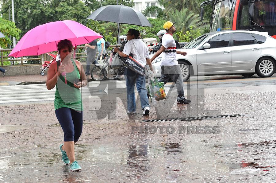 SAO PAULO, SP, 16 DE JANEIRO DE 2013.- CLIMA TEMPO SP - Pancada de chuva atinge regiao central da capital, no viaduto do cha, na tarde desta quarta feira, 16.  (FOTO: ALEXANDRE MOREIRA / BRAZIL PHOTO PRESS).