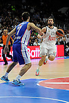 Real Madrid´s Sergio Llull and Anadolu Efes´s Stratos Perperoglou during 2014-15 Euroleague Basketball Playoffs second match between Real Madrid and Anadolu Efes at Palacio de los Deportes stadium in Madrid, Spain. April 17, 2015. (ALTERPHOTOS/Luis Fernandez)