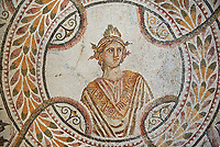 Detail of a Roman mosaics design depicting the nine muses, from the Maison du Mois, ancient Roman city of Thysdrus. 2nd half of 3rd century AD. El Djem Archaeological Museum, El Djem, Tunisia.<br /> <br /> The Roman mosaic depicts the nine muses and their attributes: Clio the muse of history ; Uranie the muse of Astronomy; Melpomene, tragedy; Thalie, comedy; Terpsichore, dancing; Calliope, epic poetry; Erato, love poetry; Polymnie, religious songs and rhetoric; Euterpe, lyrical poetry and music