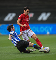 Bristol City's Callum O'Dowda (right) is tackled by Sheffield Wednesday's Tom Lee (left) <br /> <br /> Photographer David Horton/CameraSport<br /> <br /> The EFL Sky Bet Championship - Bristol City v Sheffield Wednesday - Sunday 28th June 2020 - Ashton Gate Stadium - Bristol <br /> <br /> World Copyright © 2020 CameraSport. All rights reserved. 43 Linden Ave. Countesthorpe. Leicester. England. LE8 5PG - Tel: +44 (0) 116 277 4147 - admin@camerasport.com - www.camerasport.com