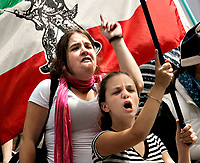 "Quebec City, July 1, 2007 ? Protesters take part into the annual MLNQ (Mouvement de liberation National du QuÈbec) Canada Day protest in front of the Quebec City hall July 1, 2007. Each year, the MLNQ gather a couple of dozens of hard line separatists to protest the ""Canadian colonialism demonstration of Canada Day"".<br /> <br /> PHOTO :  Francis Vachon - Agence Quebec Presse"