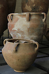 Storage vessels and cooking pots from Tel Dan, 12th century BC, at the Skirball Museum of Biblical Archaeology in Jerusalem