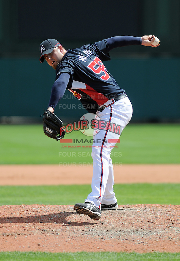 15 March 2009: RHP Peter Moylan (58) of the Atlanta Braves throws in a game against the Houston Astros at the Braves' Spring Training camp at Disney's Wide World of Sports in Lake Buena Vista, Fla. Photo by:  Tom Priddy/Four Seam Images