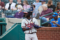 Michael Harris II (24) of the Rome Braves waits for his turn to hit during the game against the Greensboro Grasshoppers at First National Bank Field on May 16, 2021 in Greensboro, North Carolina. (Brian Westerholt/Four Seam Images)