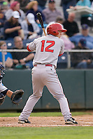 Spokane Indians second baseman Cam Schiller #12 at bat during a game against the Everett AquaSox at Everett Memorial Stadium on June 20, 2012 in Everett, WA.  Everett defeated Spokane 9-8 in 13 innings.  (Ronnie Allen/Four Seam Images)