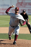 Jake Barrett #99 of the Arizona State Sun Devils pitches against the Long Beach State Dirtbags at Blair Field on March 11, 2012 in Long Beach,California. Arizona State defeated Long Beach State 6-1.(Larry Goren/Four Seam Images)