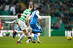 Celtic v St Johnstone…18.02.18…   Celtic Park    SPFL<br />Matty Willock goes between Eboui Kouassi and Kristoffer Ajer<br />Picture by Graeme Hart. <br />Copyright Perthshire Picture Agency<br />Tel: 01738 623350  Mobile: 07990 594431
