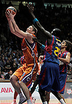 Power Electronics Valencia's Serhiy Lishchuk (l) and FC Barcelona's Boniface Ndong during ACB Supercup Final match.September 25,2010. (ALTERPHOTOS/Acero)