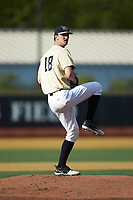 Wake Forest Demon Deacons starting pitcher Carter Bach (18) in action against the Liberty Flames at David F. Couch Ballpark on April 25, 2018 in  Winston-Salem, North Carolina.  The Demon Deacons defeated the Flames 8-7.  (Brian Westerholt/Four Seam Images)
