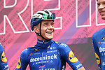 Remco Evenepoel (BEL) Deceuninck-Quick Step at sign on before the start of Stage 6 of the 2021 Giro d'Italia, running 160km from Grotte di Frasassi to Ascoli Piceno (San Giacomo), Italy. 13th May 2021.  <br /> Picture: LaPresse/Gian Mattia D'Alberto | Cyclefile<br /> <br /> All photos usage must carry mandatory copyright credit (© Cyclefile | LaPresse/Gian Mattia D'Alberto)