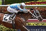 HALLANDALE BEACH, FL -JULY 02:  #2 Cajun Delta Dawn (FL) with jockey Juan Leyva on board wins the Cassidy Stakes at Gulfstream Park on July 02, 2016 in Hallandale Beach, Florida. (Photo by Liz Lamont/Eclipse Sportswire/Getty Images)