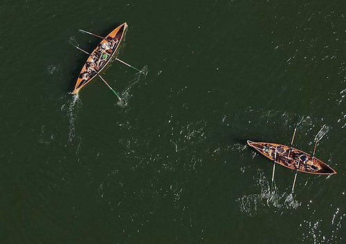 Aerial view of rowing teams from St Patrick's Rowing Club on the water