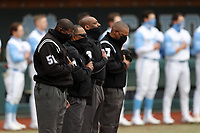 CHAPEL HILL, NC - FEBRUARY 27: Umpires Linus Baker, Bamien Beal, Randy Watkins, and Greg Street, the first all-black crew to officiate an NCAA or MLB game, stand at the plate for the playing of the national anthem before a game between Virginia and North Carolina at Boshamer Stadium on February 27, 2021 in Chapel Hill, North Carolina.