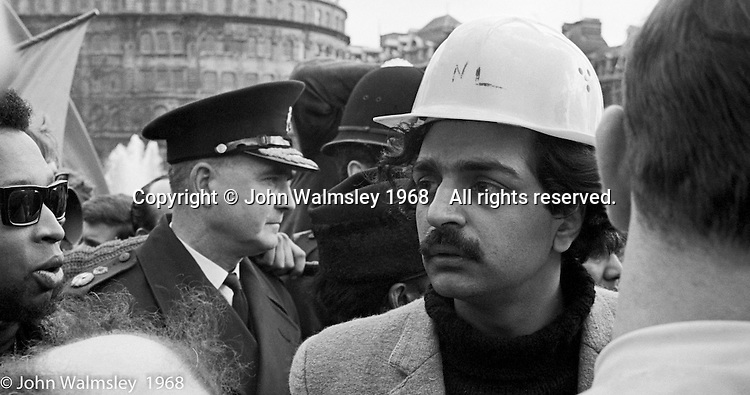Tariq Ali, Cambridge student and one of the protest leaders, anti-Vietnam war demonstration march from Trafalgar Sq to Grosvenor Sq Sunday 17th March 1968.  Now a writer and TV executive.