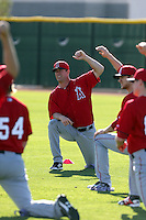 Mark Mulder, attempting to return to the major leagues for the first time since 2008, sees his comeback attempt cut short after injuring his achilles tendon in the Los Angeles Angels second spring training workout at the Angels complex on February 15, 2014 in Tempe, Arizona (Bill Mitchell)
