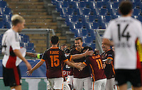 Calcio, Champions League, Gruppo E: Roma vs Bayer Leverkusen. Roma, stadio Olimpico, 4 novembre 2015.<br /> Roma's Edin Dzeko, center, celebrates with teammates after scoring during a Champions League, Group E football match between Roma and Bayer Leverkusen, at Rome's Olympic stadium, 4 November 2015.<br /> UPDATE IMAGES PRESS/Riccardo De Luca