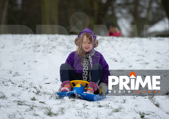 A young girl sledging in the park in Sidcup following Heavy Snowfall at Sidcup, Kent, England on the 8 February 2021. Photo by Alan Stanford.
