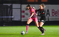 Noemie Fourdin (11) of Sporting Charleroi pictured with Geena Lisa Buyle (13) of Zulte-Waregem during a female soccer game between Sporting Charleroi and SV Zulte-Waregem on the 12 th matchday of the 2020 - 2021 season of Belgian Scooore Womens Super League , friday 29 th of January 2021  in Marcinelle , Belgium . PHOTO SPORTPIX.BE | SPP | DAVID CATRY