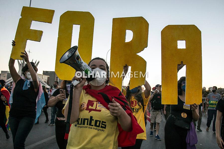 Manifestaçao Fora Bolsonaro, Vacina pra todos. Brasilia. Distrito Federal. 03.07. 2021.Foto Ubirajara Machado