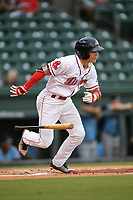 Right fielder Jarren Duran (35) of the Greenville Drive runs out a batted ball during a game against the Hickory Crawdads on Monday, August 20, 2018, at Fluor Field at the West End in Greenville, South Carolina. Hickory won, 11-2. (Tom Priddy/Four Seam Images)