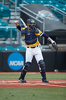 UNCG Spartans catcher Ryan Caveness (10) on defense against the San Diego State Aztecs at Springs Brooks Stadium on February 16, 2020 in Conway, South Carolina. The Spartans defeated the Aztecs 11-4.  (Brian Westerholt/Four Seam Images)