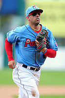 Pawtucket Red Sox shortstop Deven Marrero(12) during a game versus the Durham Bulls at McCoy Stadium in Pawtucket, Rhode Island on May 3, 2015.  (Ken Babbitt/Four Seam Images)