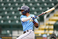 FCL Rays Zach Huffins (15) bats during a game against the FCL Pirates Gold on July 26, 2021 at LECOM Park in Bradenton, Florida. (Mike Janes/Four Seam Images)