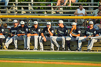 The Pulaski Mariners bullpen watches the action from down the right field line during the Appalachian League game against the Burlington Royals at Burlington Athletic Park on June20 2013 in Burlington, North Carolina.  The Royals defeated the Mariners 2-1 in 13 innings.  (Brian Westerholt/Four Seam Images)