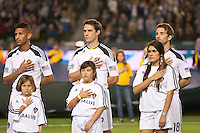 CARSON, CA - November 3, 2011: LA Galaxy players Sean Franklin (5), Todd Dunivant (2) and Mike Magee (18) before the match between LA Galaxy and NY Red Bulls at the Home Depot Center in Carson, California. Final score LA Galaxy 2, NY Red Bulls 1.