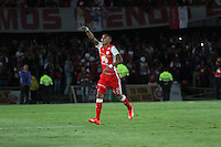 BOGOTA- COLOMBIA – 29-10-2015: Francisco Meza, jugador del Independiente Santa Fe de Colombia, celebra el gol anotado a Independiente de Avellaneda de Argentina, durante partido de vuelta entre Independiente Santa Fe de Colombia y el Independiente de Avellaneda de Argentina,por los cuartos de final de la Copa Suramericana en el estadio Nemesio Camacho El Campin, de la ciudad de Bogota. /Francisco Meza, player of Independiente Santa Fe of Colombia, celebrate a scoredgoal to Independiente de Avellaneda of Argentinaduring a match forthesecond round between Independiente Santa Fe of Colombia and Independiente de Avellaneda of Argentina forthesecond round forthequarterfinals of the Copa Sudamericana in the Nemesio Camacho El Campin in Bogotacity. Photos: VizzorImage / Felipe Caicedo/ Staff.