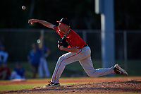Ball State Cardinals relief pitcher Brendan Burns (35) during a game against the Mount St. Mary's Mountaineers on March 9, 2019 at North Charlotte Regional Park in Port Charlotte, Florida.  Ball State defeated Mount St. Mary's 12-9.  (Mike Janes/Four Seam Images)