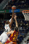 Real Madrid´s Marcus Slaughter and Galatasaray´s Maric during 2014-15 Euroleague Basketball match between Real Madrid and Galatasaray at Palacio de los Deportes stadium in Madrid, Spain. January 08, 2015. (ALTERPHOTOS/Luis Fernandez)