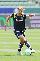 Ali Waner #4 of the Los Angeles Sol attacks the defense during their WPS match against the Boston Breakers at Home Depot Center on May 10, 2009 in Carson, California.