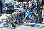 Movistar Team Canyon bikes lined up before the start of Strade Bianche 2019 running 184km from Siena to Siena, held over the white gravel roads of Tuscany, Italy. 9th March 2019.<br /> Picture: Seamus Yore   Cyclefile<br /> <br /> <br /> All photos usage must carry mandatory copyright credit (© Cyclefile   Seamus Yore)