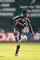 New England Revolution midfielder (21) Shalrie Joseph. The Houston Dynamo defeated the New England Revolution 2-1 in the finals of the MLS Cup at RFK Memorial Stadium in Washington, D. C., on November 18, 2007.