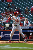 Tyler Hardman (36) of the Oklahoma Sooners at bat against the Missouri Tigers in game four of the 2020 Shriners Hospitals for Children College Classic at Minute Maid Park on February 29, 2020 in Houston, Texas. The Tigers defeated the Sooners 8-7. (Brian Westerholt/Four Seam Images)