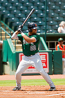 Chuckie Jones (20) of the Augusta GreenJackets at bat against the Greensboro Grasshoppers at NewBridge Bank Park on August 11, 2013 in Greensboro, North Carolina.  The GreenJackets defeated the Grasshoppers 6-5 in game one of a double-header.  (Brian Westerholt/Four Seam Images)