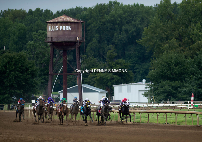 Horses compete in the sixth race at Ellis Park in Henderson, Ky., Sunday afternoon, Aug. 9, 2020. Jockey Rafael Bejarano rode Crazy Beautiful to a first place finish.