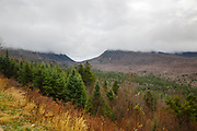 View from a pulloff along the Kancamagus Highway (Route 112) in the White Mountains, New Hampshire USA during the autumn months on a cloudy day.