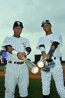 Staten Island Yankees infielder Cito Culver (2) and outfielder Mason Williams (59) before game against the Connecticut Tigers at Richmond County Bank Ballpark at St. George in Staten Island, NY July 07, 2011. Yankees won 4-3 in 10 innings.  Photo By Tomasso DeRosa/ Four Seam Images