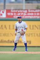 Franklin Barreto (10) of the Stockton Ports in the field during a game against the Inland Empire 66ers at San Manuel Stadium on June 28, 2015 in San Bernardino, California. Stockton defeated Inland Empire, 4-1. (Larry Goren/Four Seam Images)