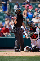 Umpire John Bacon calls a strike during an International League game between the Scranton/Wilkes-Barre RailRiders and Rochester Red Wings on June 25, 2019 at Frontier Field in Rochester, New York.  Rochester defeated Scranton 10-9.  (Mike Janes/Four Seam Images)