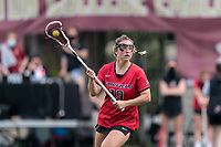 NEWTON, MA - MAY 14: Meaghan Graham #19 of Fairfield University looks to pass during NCAA Division I Women's Lacrosse Tournament first round game between Fairfield University and Boston College at Newton Campus Lacrosse Field on May 14, 2021 in Newton, Massachusetts.