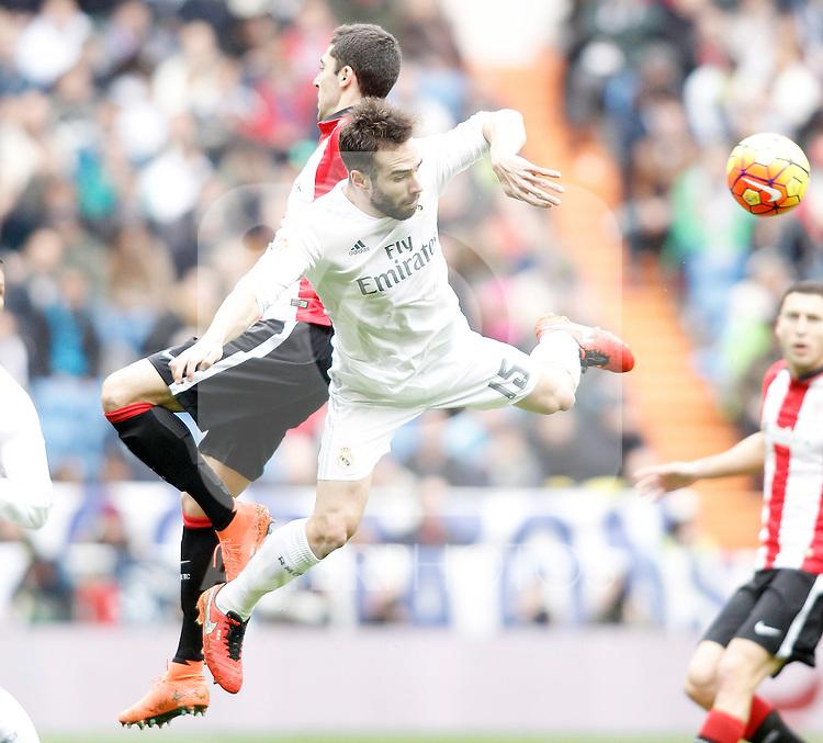 Real Madrid's Daniel Carvajal (r) and Athletic de Bilbao's Sabin Merino during La Liga match. February 13,2016. (ALTERPHOTOS/Acero)