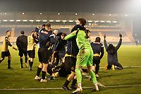 The Marine players celebrate their victory during Colchester United vs Marine, Emirates FA Cup Football at the JobServe Community Stadium on 7th November 2020